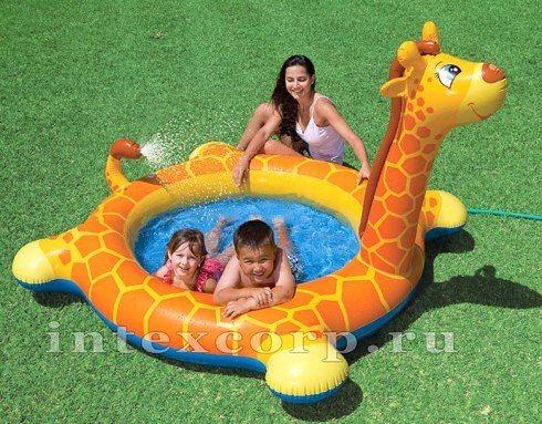 Надувной бассейн с распылителем Жираф, от 3 лет