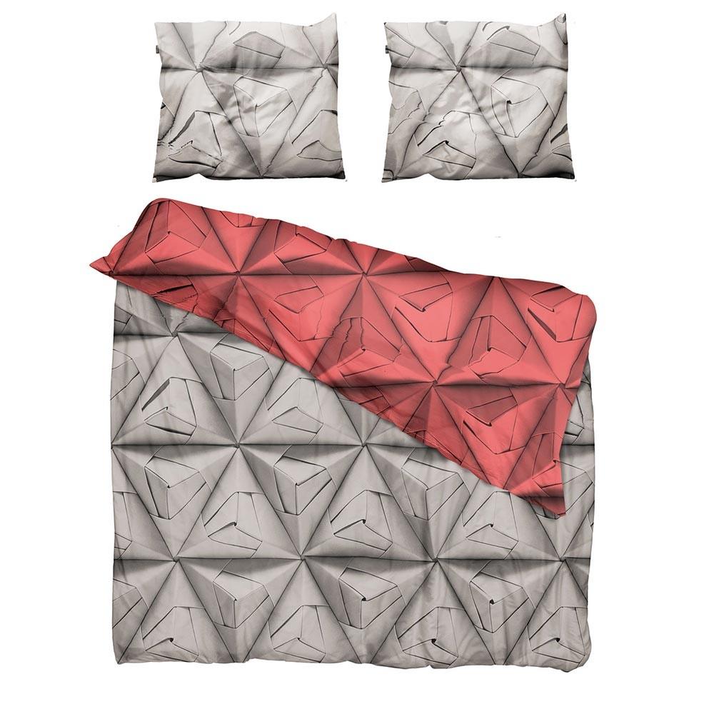Красный комплект постельного белья Оригами