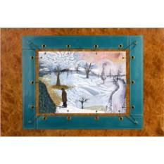 Картина из кожи Зимний пейзаж Ван Гог