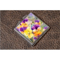 Карманное зеркальце Фиолетовые и желтые цветы (белый)