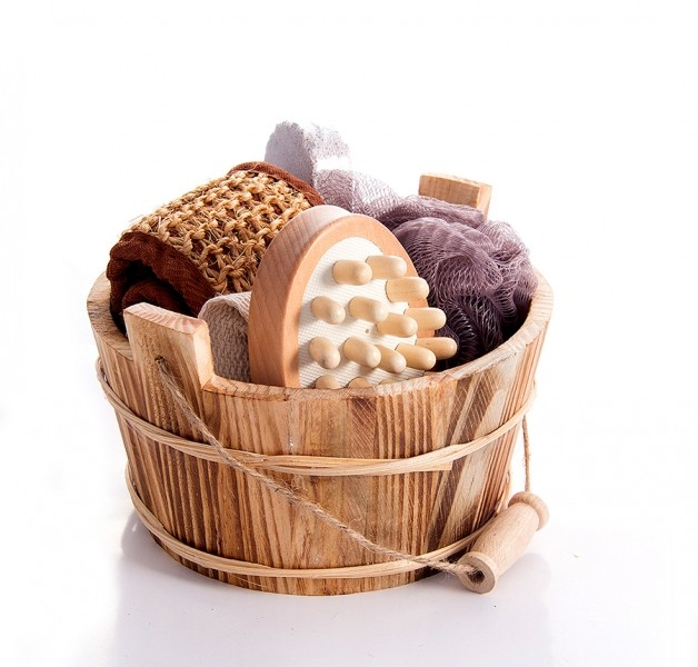 Подарочный набор для душа в круглом лукошке