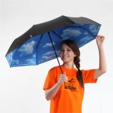 Зонт-трость с ручкой из кожзама «Небо»
