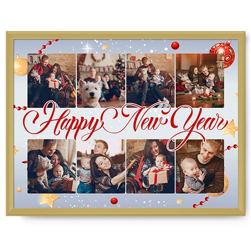 Фотопостер в рамке Happy New Year gold