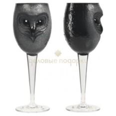 Черный бокал для вина Сова