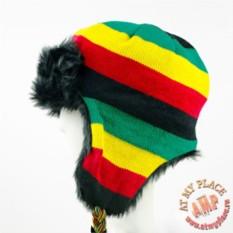Полосатая шапка-ушанка Раста
