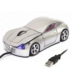 Мышь для ПК в виде гоночного авто, серая