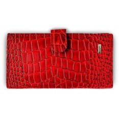 Женский красный кошелек из натуральной кожи