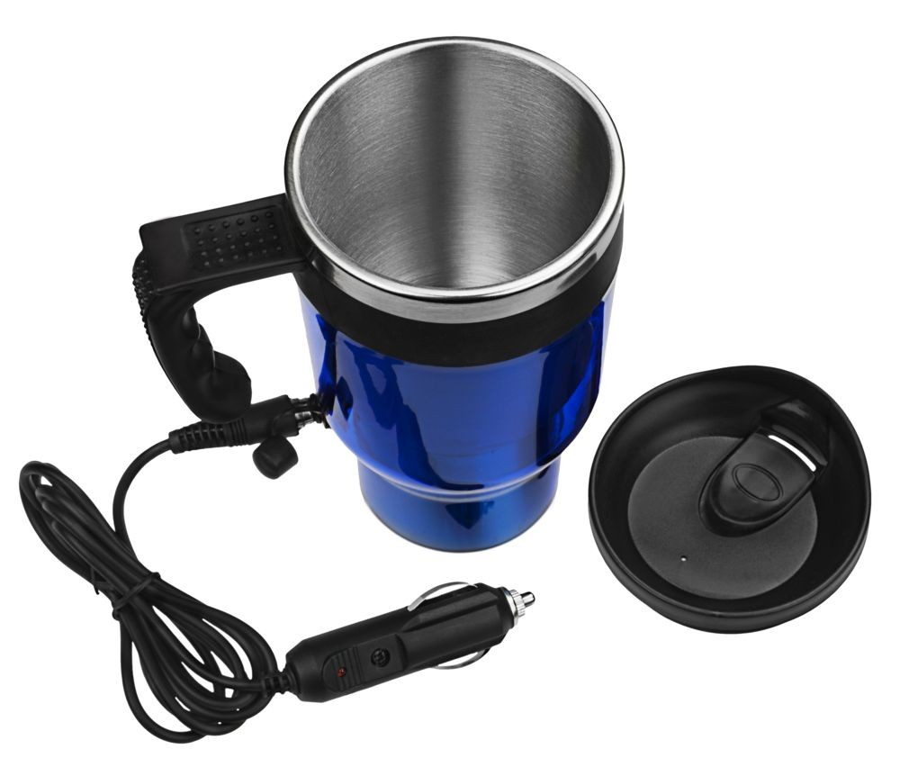 Электрическая термокружка, от прикуривателя, синяя, 430 мл