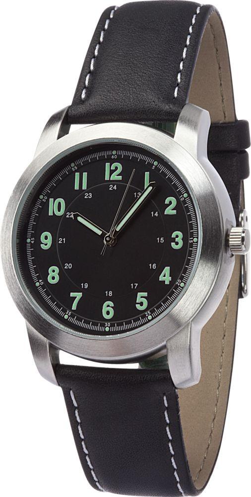 Наручные часы Sonata, мужские, хром, черный ремешок