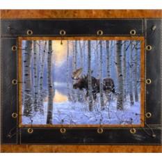 Картина из кожи Лось в зимнем лесу