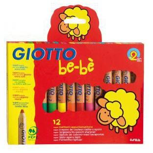Набор утолщённых карандашей 12 цветов и точилка