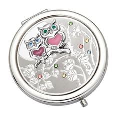 Косметическое круглое зеркало Совы