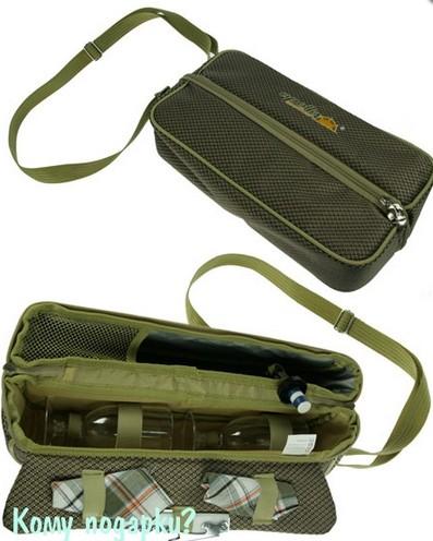 Набор для пикника в зеленой сумке