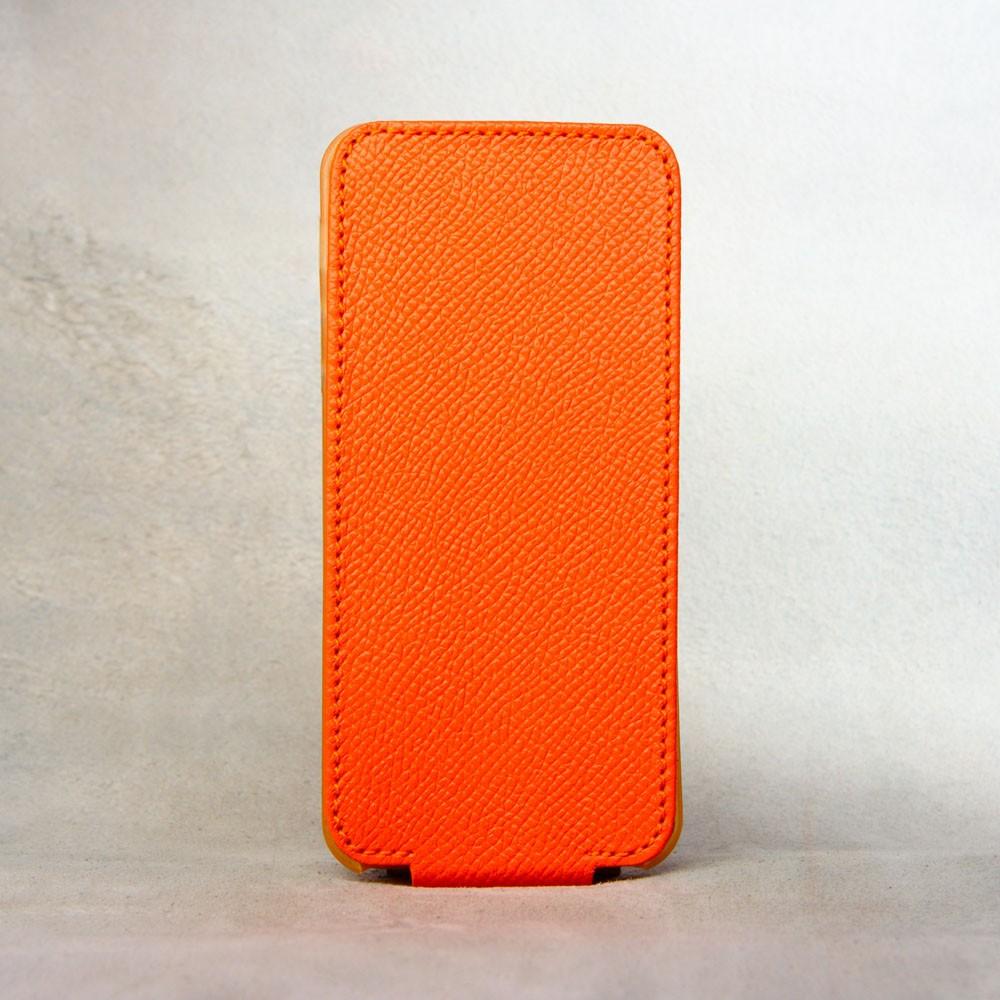 Кожаный чехол для iPhone Теленок Hermes, оранжевый