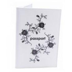 Кожаная обложка для паспорта Розы