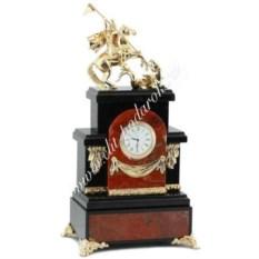 Каминные часы из яшмы Георгий Победоносец