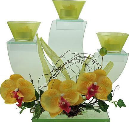 Подсвечник Желтые орхидеи с 3 свечами