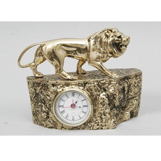Часы-будильник бронзовые интерьерные со львом