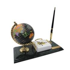 Настольный мраморный набор из глобуса, блок-листов и ручки
