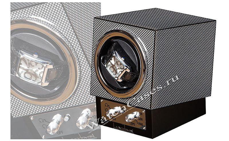 Шкатулка для часов с автоподзаводом, серый карбон