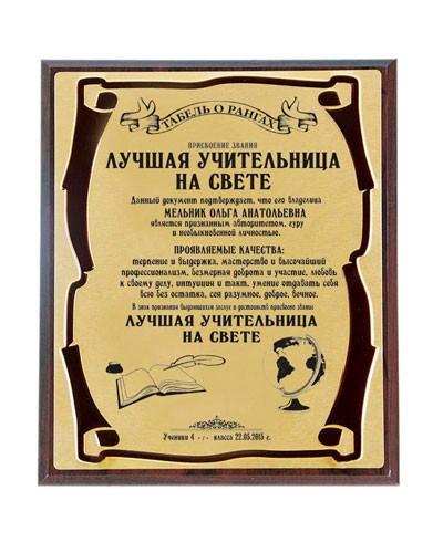 Наградная индивидуальная плакетка Лучшая учительница