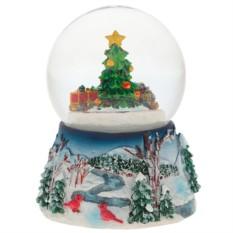 Декоративная фигурка в стеклянном шаре с музыкой Ёлка