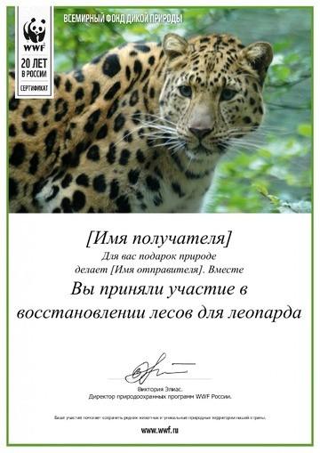 Именной электронный сертификат от WWF Лес для гепарда