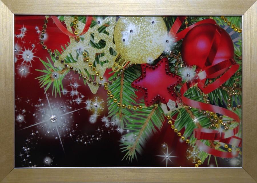 Картина с кристаллами Сваровски Новогодняя открытка