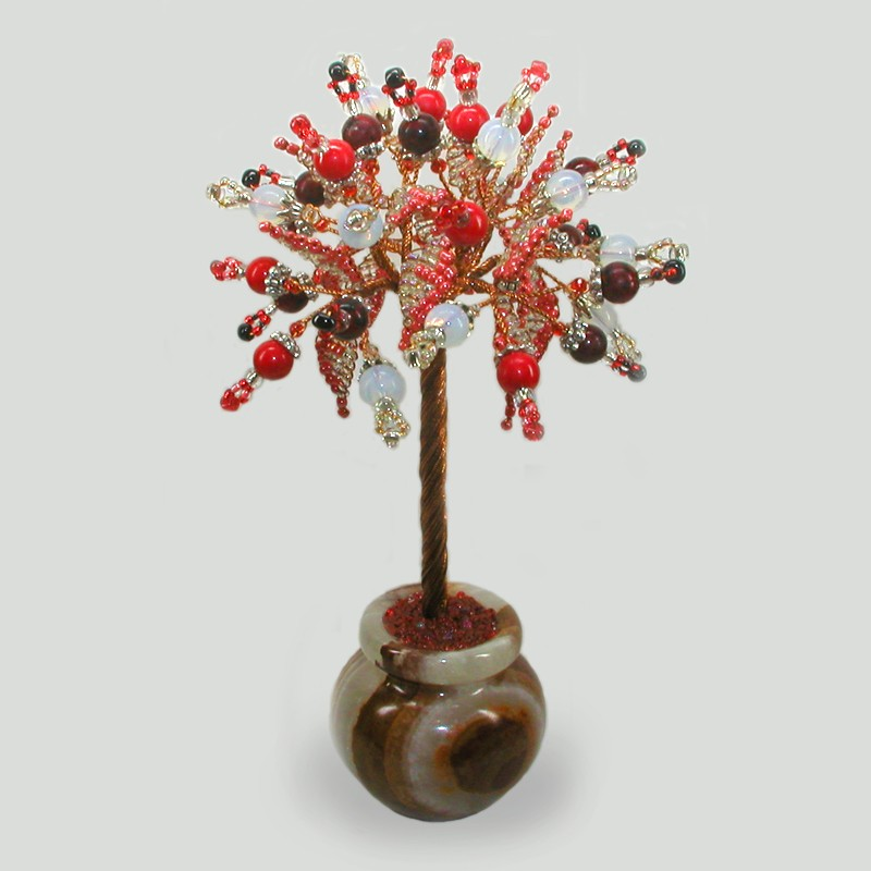 Дерево счастья из коралла, лунного камня и граната