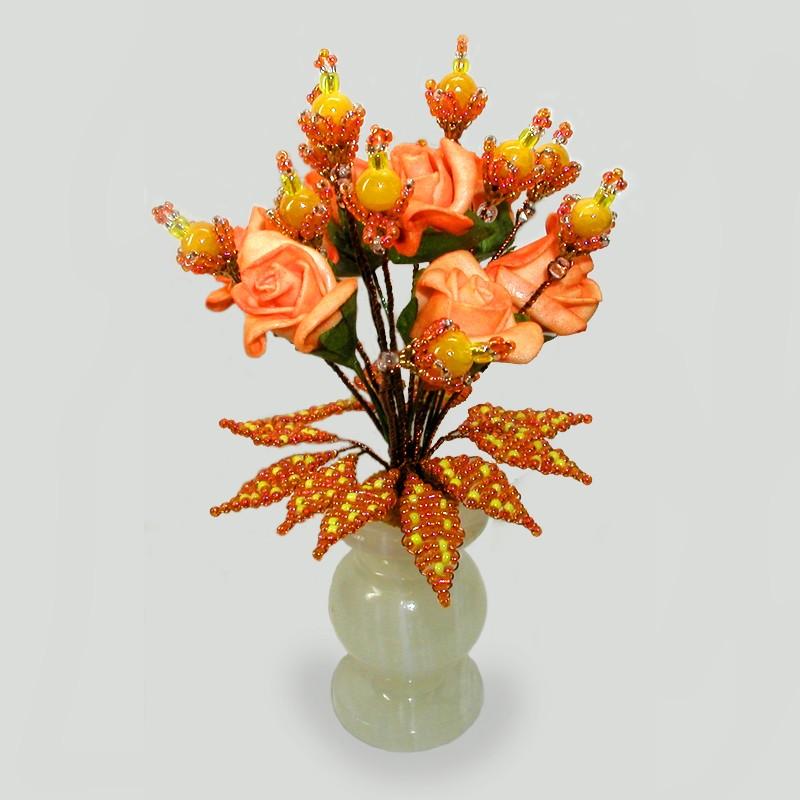 Цветы из опала  вазочке из оникса