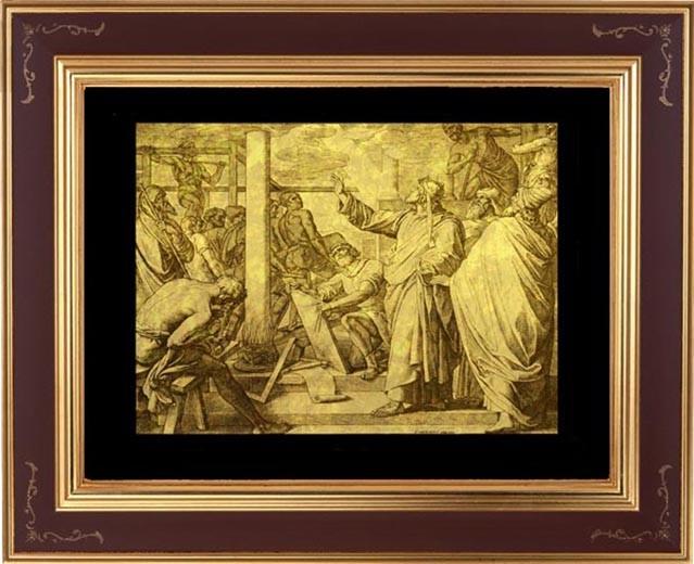 Гравюра из золота Соломон строит храм