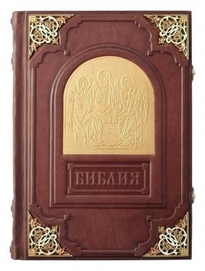 Подарочная Библия с эмалевыми уголками и замками в футляре