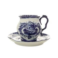 Чайная пара с росписью гжель Голубая рапсодия