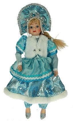 Фигурка Снегурочка в кокошнике, с белой жилеткой, 25 см