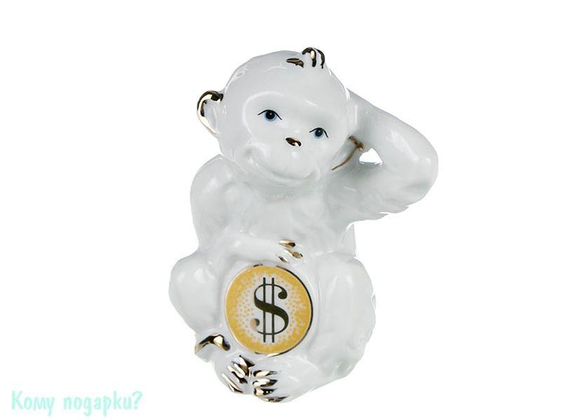 Фигурка «Обезьянка со знаком доллара» (h=8 см), белая