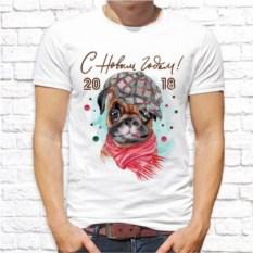 Мужская футболка Собака в берете и шарфе