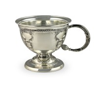Серебряная кружка Царская, чайная с оксидированием