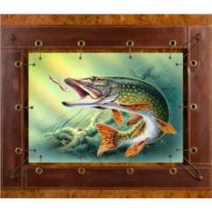 Картина из кожи Рыбалка на щуку