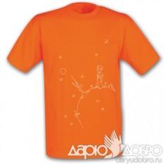 Оранжевая мужская футболка Маленький Принц на планете