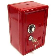 Копилка в виде металлического сейфа с ключом, красная