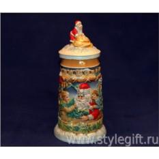 Пивная кружка с крышкой Дед Мороз