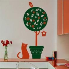 Интерьерная наклейка Кошка и птица
