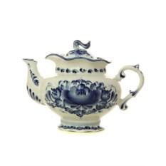 Заварочный керамический чайник с росписью Гжель Тонус
