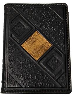 Деловой кожаный ежедневник, черный с узором
