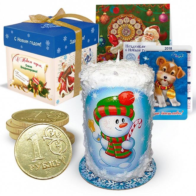 Набор с новогодней свечой «Снеговик с тростью»