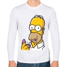 Мужская футболка с длинным рукавом Гомер с Пончиком