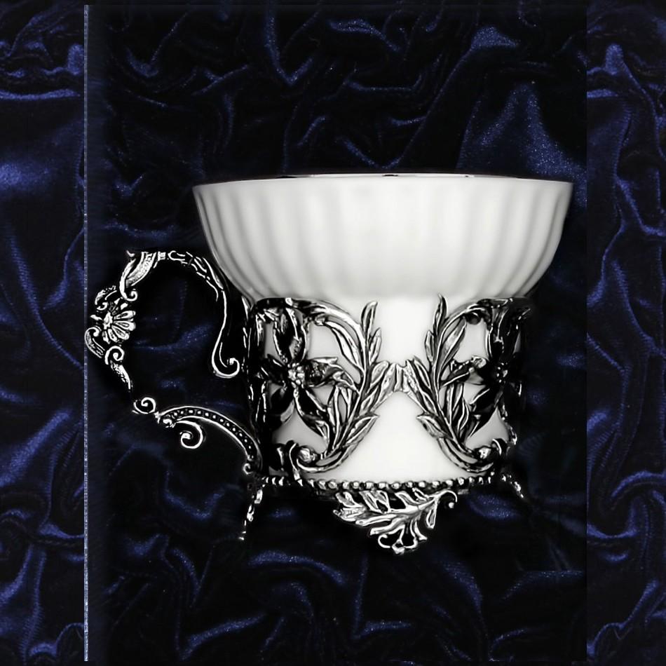 Серебряная чайная чашка Симфония, чернение