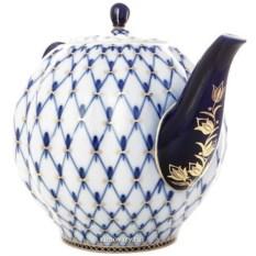 Фарфоровый доливной чайник Кобальтовая сетка