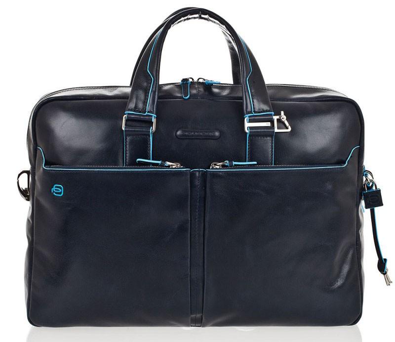 Темно-синяя кожаная сумка для ноутбука Piquadro Blue Square