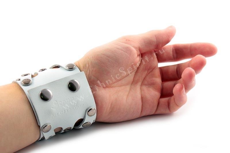 Широкий креативный белый кожаный браслет в стиле Casual